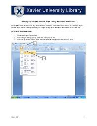 Apa Setup In Word Apa Format Instructions For Setting Up The Running Head In Word