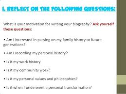 1 Writing A Biography For Work Sample Outline Worksheets An