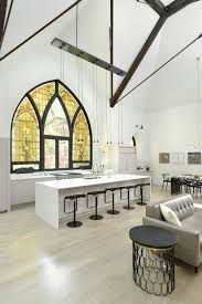 Chicago church converted into family home kitchen with stained window