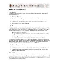 Appeal Letter Sample Medical Claim And Insurance Denial Form