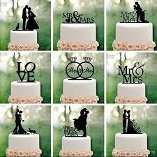 Mr Mrs Wedding Decoration Cake Topper Acrylic Black Romantic Bride