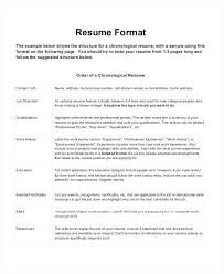Format For A Professional Resume Chronological Resume Format