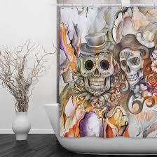 Skull Bedroom Curtains Abstract Pencil Sketch Flower And Sugar Skull Shower Curtain Ink