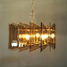 mid century modern smoked ass 6 light chandelier angular glass grey brass and chrome chandelier with five smoked glass