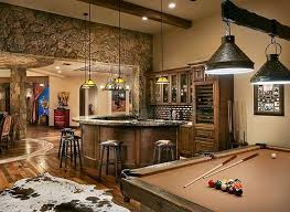 man cave lounge with pool table