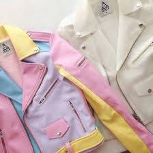 jacket blue gold zip on unif cute leather leather jacket white pink purple yellow pastel pale