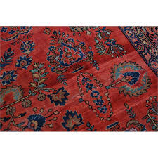 antique persian hand knotted sarouk red blue wool area rug antique persian hand knotted sarouk red blue wool area rug oriental vintage