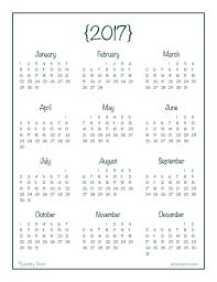 At A Glance Yearly Calendars 2017 Year At A Glance Calendar Free Printable Alaina