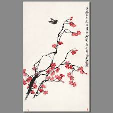 chinese qi baishi decoration red plum flower ink calligraphy wall art pictures erfly canvas painting living