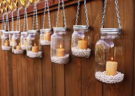 Decorate Jar Candles Outdoor Hanging Fence Mason Jar Candle Holders With Wire Handle 26
