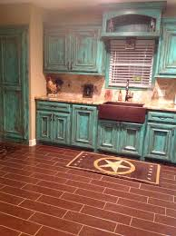 Rustic Kitchen Floors Rustic Turquoise Kitchenlove The Cabinets Kitchen Is The 3