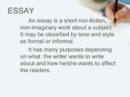 an introduction to essay its parts and kinds essay an essay is