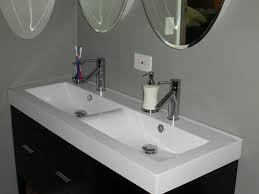 Bathroom Double Black Vanity Sink With White Countertop Under