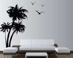 palm tree wall stickers: palm coconut tree wall decal with seagull birds  trees   feet tall