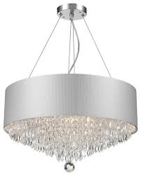 modern 8 light chrome finish crystal chandelier with silver acrylic drum shade