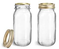 clear gl jars clear gl mayberry jars w gold two piece canning lids