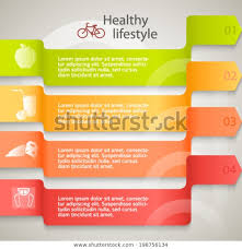 Healthy Lifestyle Organic Food Icons Modern Stock Vector
