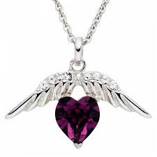 saint francis crystals purple silver heart angel wings swarovski element necklace