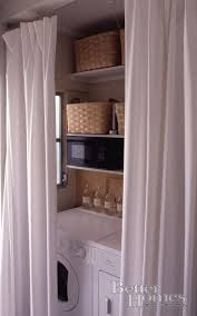 Laundry room curtain to hide washer and dryer