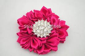 Paper Ribbon Flower Free Shipping New Rhinestone Silk Flower Hairpin Diy Layered Satin