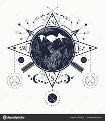 знак компаса тату горный ветер роза компас тату искусства