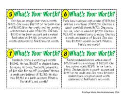 What Is Networth Whats Your Worth Net Worth Statement Activity 7 13c By Missmathmatters
