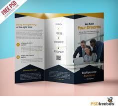 Professional Corporate Tri Fold Brochure Free Psd Template Tri