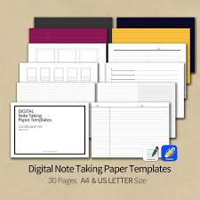 Notebook Templates 30pages Goodnotes Notability Note Taking Paper Templates Landscape Format Ahns Digital Notability Notebook Templates Printable