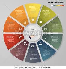 Modern Pie Chart Modern 10 Steps Modern Pie Chart Infographics Elements Vector Illustration