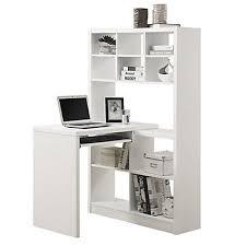 white corner desk. Brilliant Desk Monarch Specialties Adjustable Corner Desk With Shelving In White  The  Home Depot Canada Intended