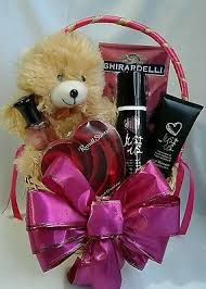 valentine s day gift basket for her with fragrance set chocolate teddy bear