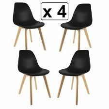 Lot De 4 Chaises Style Scandinaves Chaise En Abs Pieds En Bois