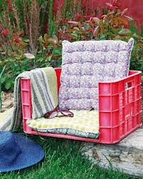 an old plastic crate can become your favorite garden chair with some soft cushion padding 22 easy and fun diy outdoor furniture ideas