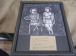 """DUDLEY MANLOVE (""""PLAN 9 FROM OUTER SPACE"""" STAR) HANDWRITTEN NOTE & SKETCH  OF HIM 