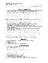 Resume For Equipment Operator Heavy Equipment Operator Resume