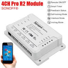 Walmart Wifi Light Switch Diy 4ch Pro R2 4 Gang Inching Self Locking Interlock Wifi Rf Smart Switch