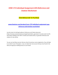Com 172 Individual Assignment Apa Reference And Citation Worksheet