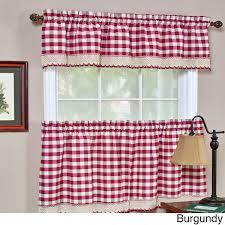 gingham kitchen curtains valances beautiful achim buffalo checd valance burdy red