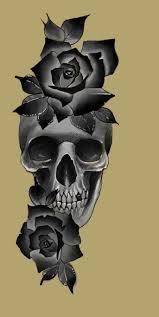 череп с розами эскизы череп розы эскиз