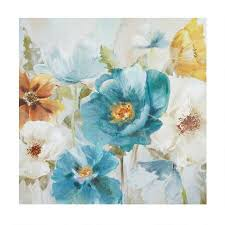 30 blue yellow white flowers canvas wall art on yellow blue and grey wall art with 30 blue yellow white flowers canvas wall decor christmas tree