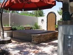 good looking offset umbrella in landscape contemporary with hot tub surround next to stone hot tub