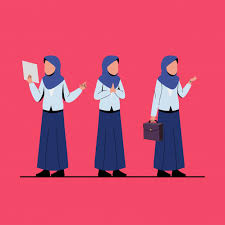 Muslim Business Woman Character Illustration Vector