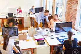 wide angle view busy design office. wide angle view of busy design office with workers at desks stock photo 42307373 a