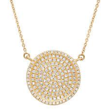 0 47ct 14k yellow gold diamond pave circle necklace