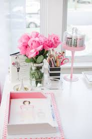 office desk decor ideas. Pink-flowers Office Desk Decor Ideas