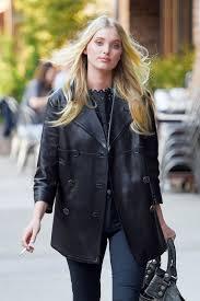 elsa hosk mock collar hot women celebrities replicate genuine leather pea coat