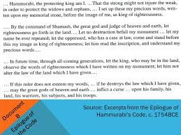 hammurabi s code was it just ppt video online 15 document b epilogue of the code source excerpts from the epilogue of hammurabi s code c 1754bce