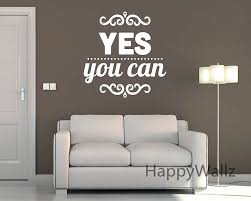 custom made wall decals yes you can motivational quote wall sticker diy decorative inspirational quotes office on custom made wall art stickers with wall decal custom made wall decals ideas customized wall stickers