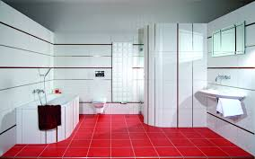Interior : Stupendous Red And White Bathroom Interior With Ceramic ...