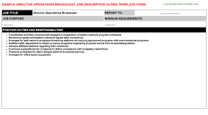 Director Operations Broadcast: Free Career Templates Downloads | Job ...